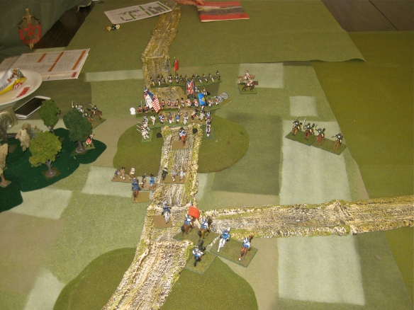 American and British infantry engage in musketry as their light horse position on the flanks.