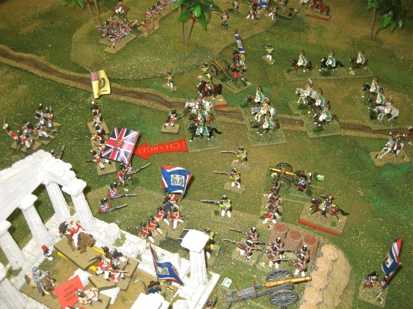 Trumpets sound as the French dragoons (Roize) charge the British Reserve brigade.