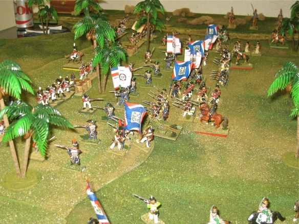 French demi-brigade infantry march up the gentle slope hill defended by the British brigades.