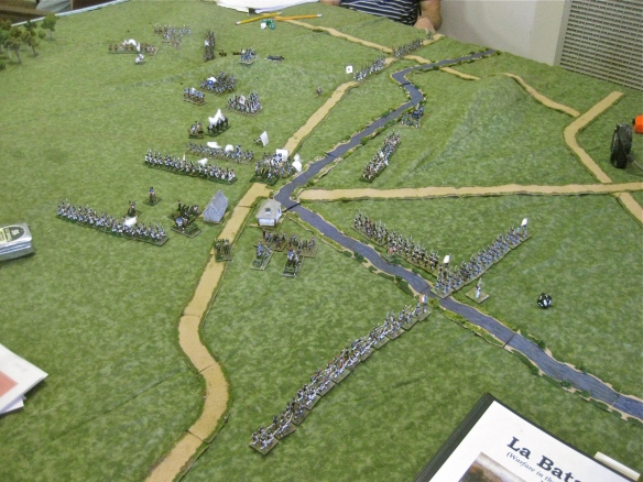 As some French stop the Allied advance, other French brigades attempt to march around the Allied flank.