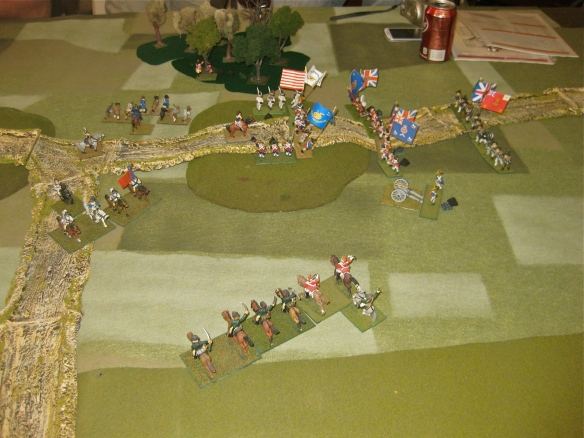 Side view as the infantry lines clash and the arriving British and Loyalist horse approach.