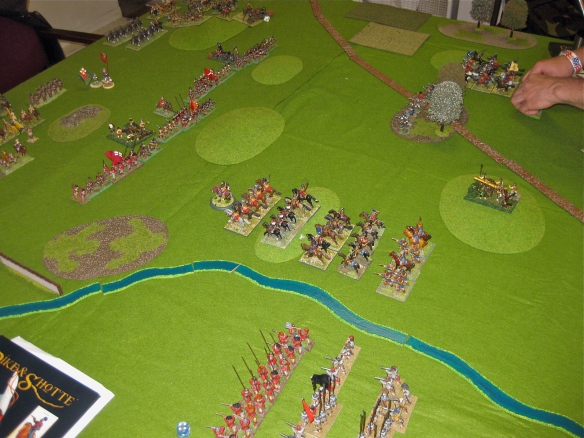 Opening positions as the Parliamentarian and Covenanter army vs. Royalist clash.