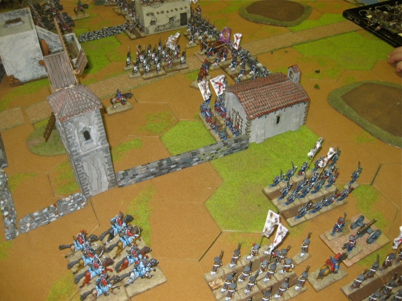 The Spanish infantry with some cavalry position themselves in the village.