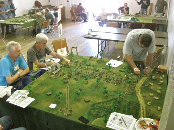 Overhead view of the action, (l to r) WR as GM, Bob and Paul commanding the British brigades.