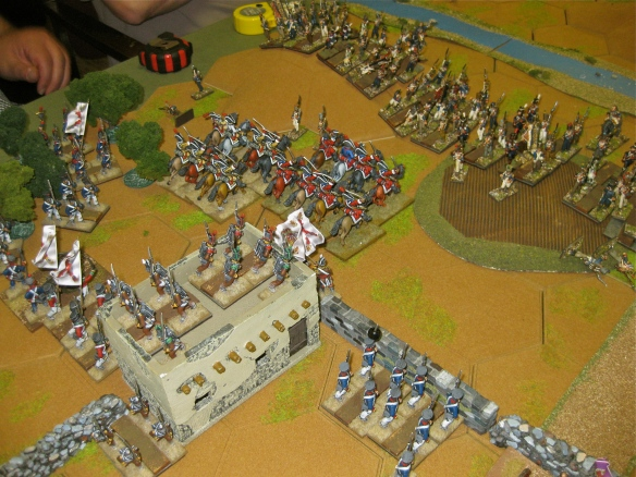 Spanish cavalry charge forward... French form some squares... so much for the Spanish cavalry who actually crossed sword on bayonet.