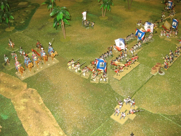 A Dromedary charge in the offering? French demi-brigades exchange musketry and a flank column approaches. British 2nd Brigade is hard pressed.