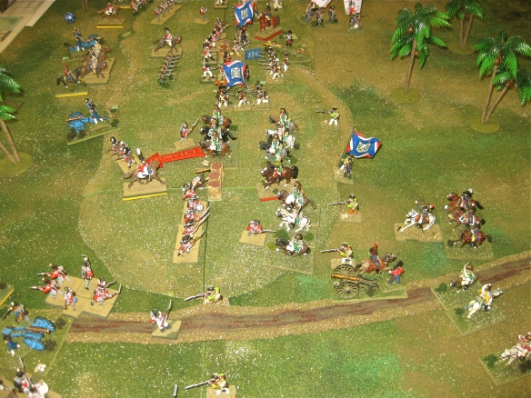 Too late. The French dragoons quickly ride to their right and charge the British Guard brigade caught out of square.