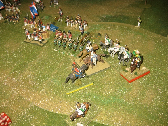 After overrunning the British 12lb battery, the British light dragoons charge into the fray. Both sides have their commanders leading their men.