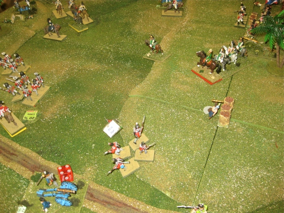 End of the French dragoon charge. A open hill for the French to advance across... but the French reserves are already engulfed in musketry battles.