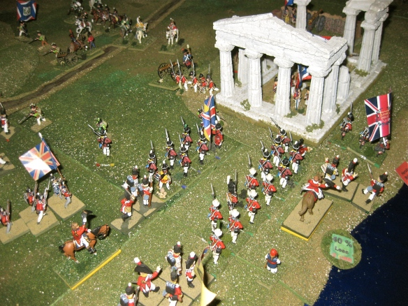 British 5th Foreign brigade (Stuart) assaults the roman ruins in columns. French musketry rings out between the ancient columns.