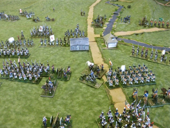 Massed French conscript infantry hold back the advancing Russian infantry.