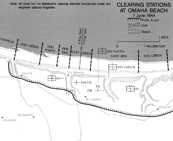 Map showing casualty clearing stations on D-Day.