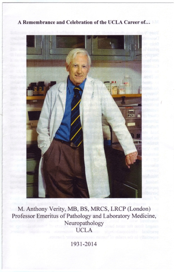 Remembrance pamlet cover on the career of my father Dr M. Anthony Verity at UCLA.