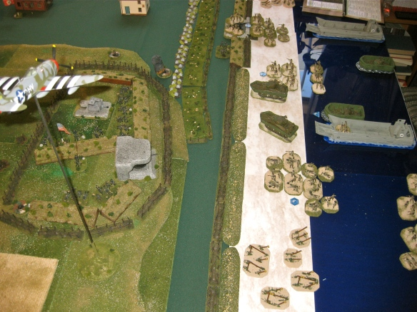 Test scenario play. American infantry being shot up on the open beach.