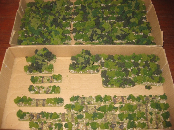 Wr's Bocage terrain. WR's has 50 feet of the terrain ready for those hedgerows of Normandy FOW scenarios.