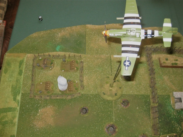 P-51 NGF flys over to direct the bombardment of the rocket batteries. Lucky ranging in causes lost of two rocket open bunkers.
