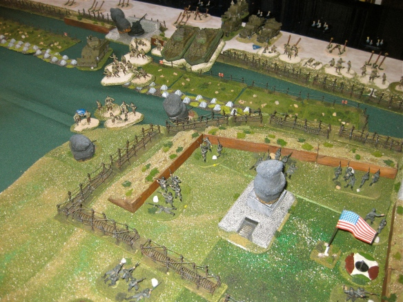 American engineers gunned down on the slopes as the reinfrocement Grenadier platton arrives behind WN 66. Daniel tossed in the game and plans another tactic for the big convention game.
