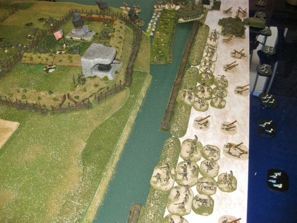 End of scenario with American infantry huddled behind the sea wall. Omaha beach looking bad in this sector.