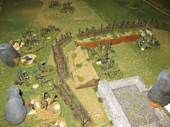 Savage back and forth finally clears the forward trench of Germans.