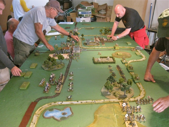 Initial miniature deployment on 3rd turn (1 hour of game time. French on left, Russians on right.