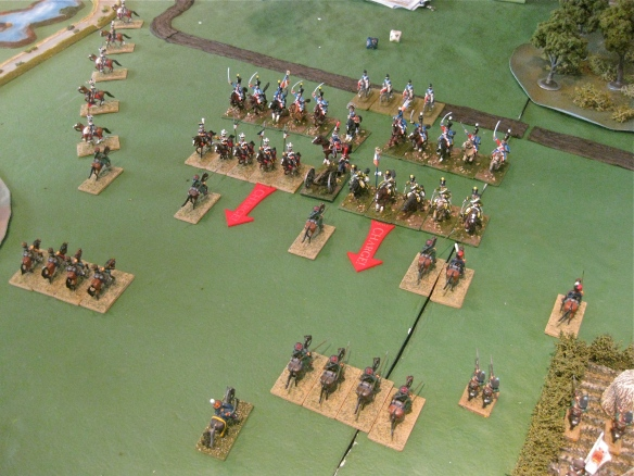 French light cavalry division rides forward and declares charges against the soon departing cossack screen.