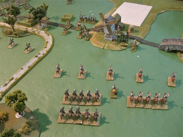 On the Russian right a light cavalry brigade has arrives opposite the Westphalian light near the wndmill.