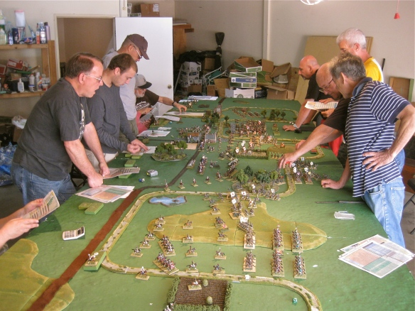 General view of the tabletop action. Team French on left, Team Russian on right.