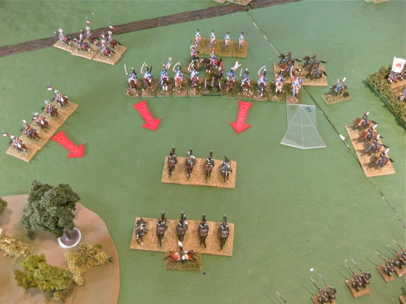French light cavalry charge the exposed Russian dragoons after their charge flubbed.