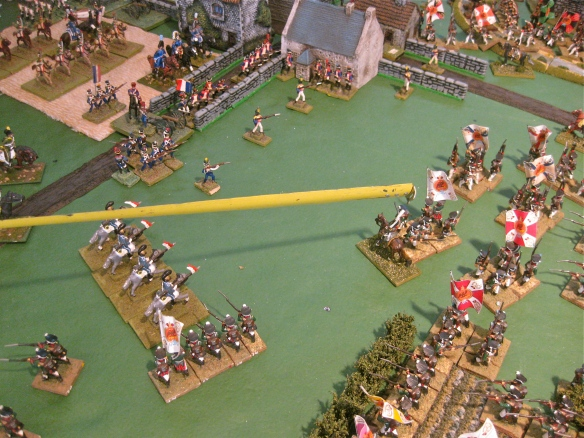 A French lancer regiment declares a charge. the Russians successfully form square and will repulse the French lancers.