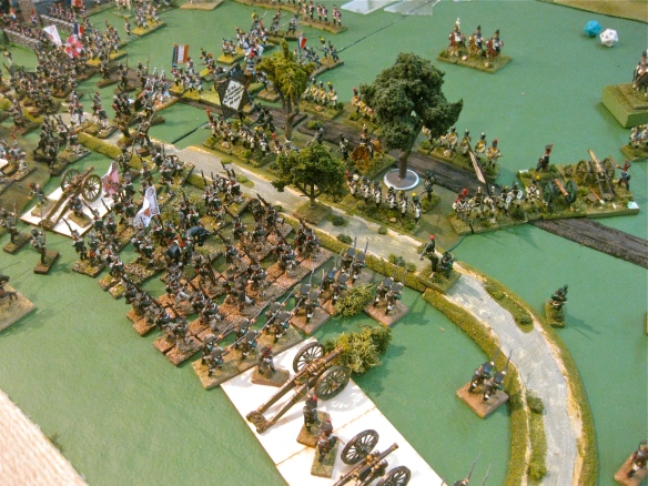 Massed Russian columns crash into the river woods, throwing back the Westphalian skirmishers. Next is the Westphalian formed infantry lining the stream bed.