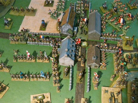 Russians in bitter fighting amidst the town buildings and streets. Three building controlled as French columns counterattack lead by their veteran legere regiment.