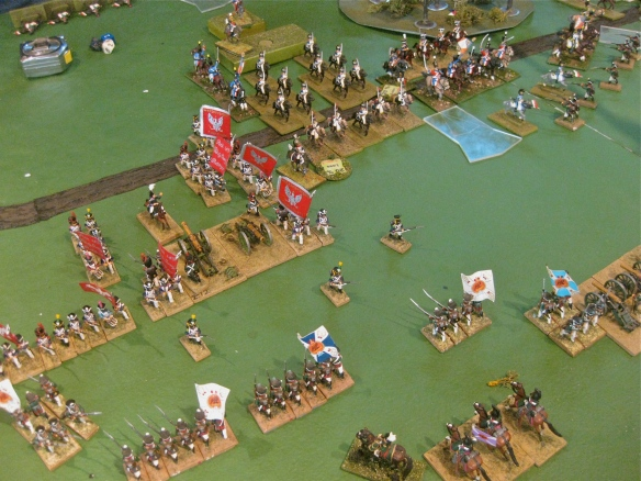 Polish division advances on the Russian left center. French cuirassier lie in wait for the Russian  countermove.