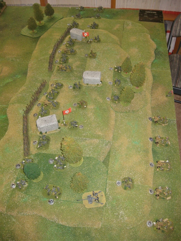 Germans deployment on Hill 105. Three MG bunkers and four barbwire section strengthen the defense.