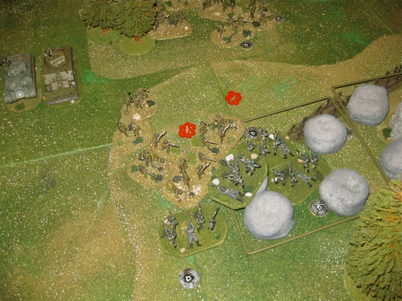 The German grenadiers immediately counterattack after the failed American engineer assault dice rolls.
