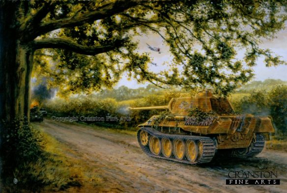 Painting by David Pentland showing another view of Barkmann's Panther tank in ambush.