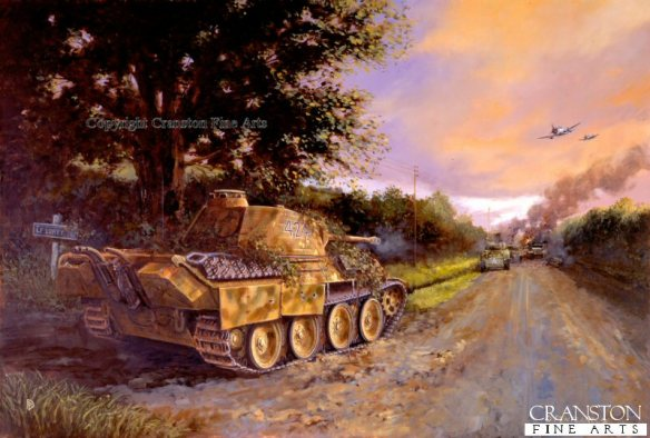 Painting by David Pentland showing the classic positioning of Barkmann's Panther tank in ambush.