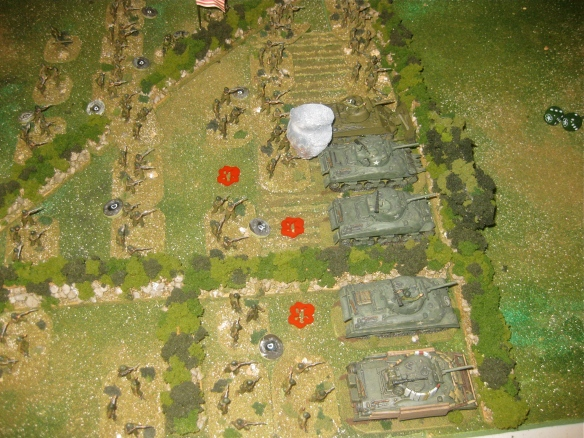 Turn one starts the NW41 salvos landing in the the American platoons. Even with foxholes the German salvo causes losses (three teams).