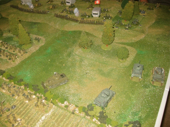 Turn three as the M4a1 shermans inch forward while their platoon leader is stuck. Engineer dozer sherman moves to create another gap. hedgerow