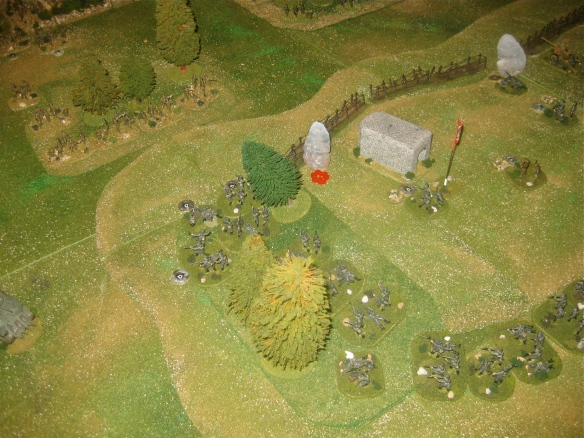 American 105mm off-board artillery continues to pound the hill slope causing steady German grenadier losses.