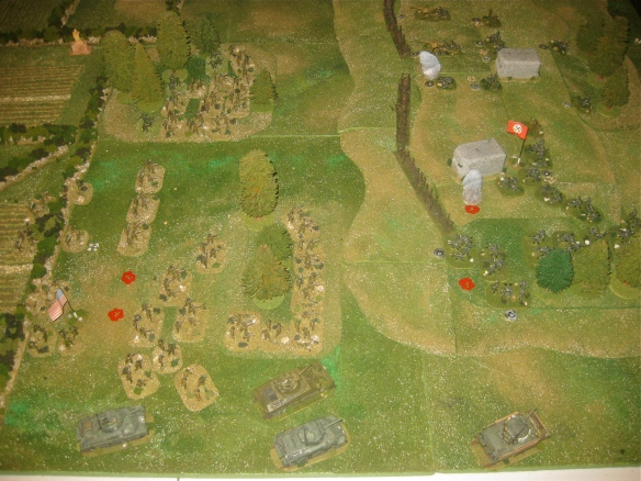 Turn eight has American rifle teams running to the right woods under fire as American 105mm shells land on the German grenadiers. Sherman platoon gunnery at the German held woods.