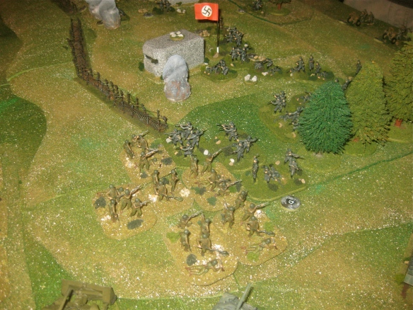 Time to start assauting the weakened German grenadier platoon. The American engineer platoon charges up the slope.