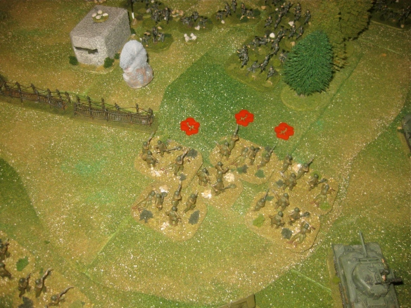 Some ineffective German rifle and MG42 firing fails to stop the engineers. They storm into the German defenders and wipe out the German front line.