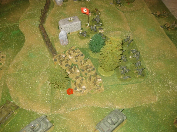 The fresh German grenadier platoon fails to counterattack so the engineers consolidate their toehold in the woods. Where is the followup support?