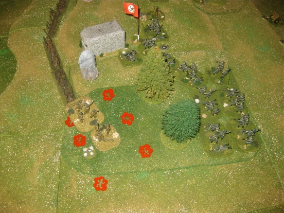Engineers try to cling to their toehold in the woods. On german half of turn they elect to open fire and not assault. Three HMG and three R/MG teams later the engineers are decimated but rally on survivors.