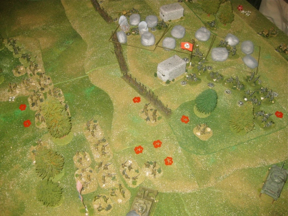 Another rifle platoon charges up the slope.... gunned down by German MG teams and the MG bunker.