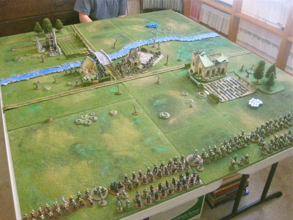 German deployment and advance towards the French river outpost