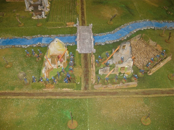 The French rearguard defending the river bridge.