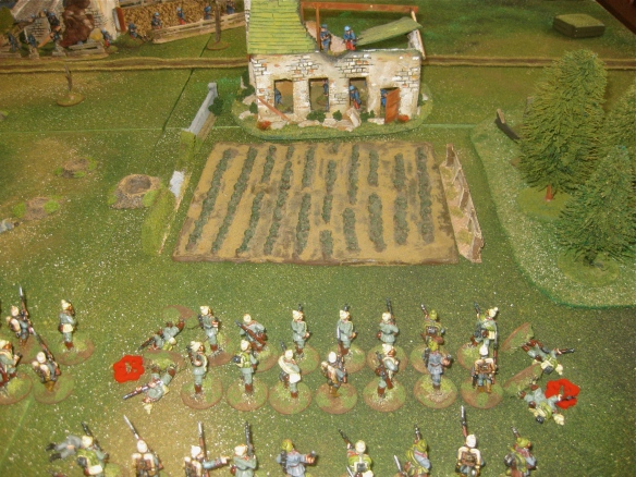 Leading German platoon enters the French fields. French platoon defending the farmhouse ruin.