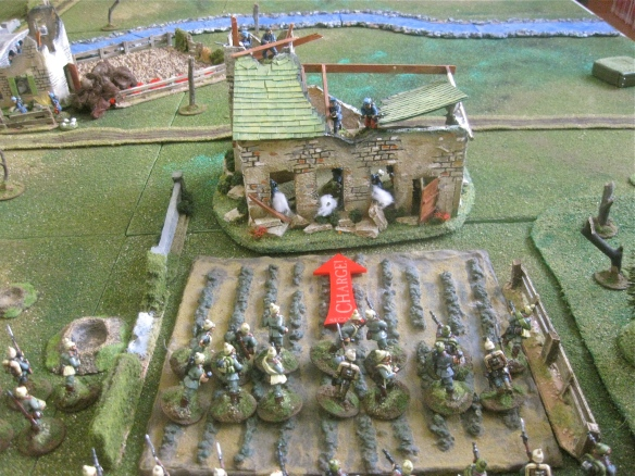 Trumpter sounds the charge!. The tired marching German platoon surges into the French held farmstead ruin.