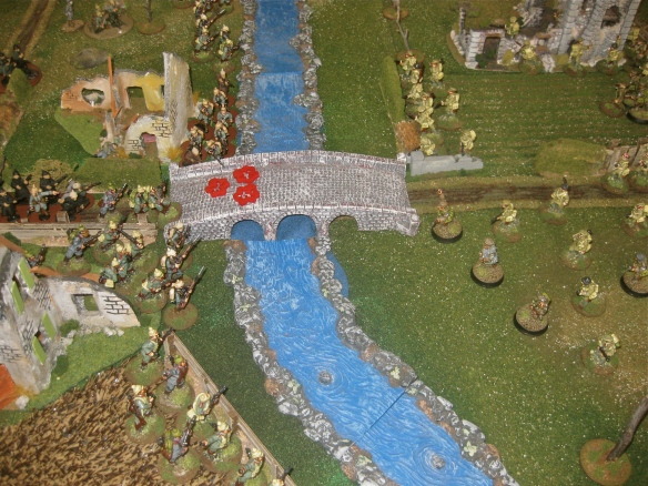 What's this? English soldiers arrive to contest the far riverbank. No time for a quick bath grumble the Teutonic horde.
